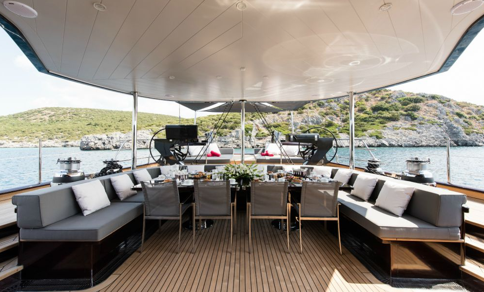 Super Sailing Yacht Rox Star_on deck dining