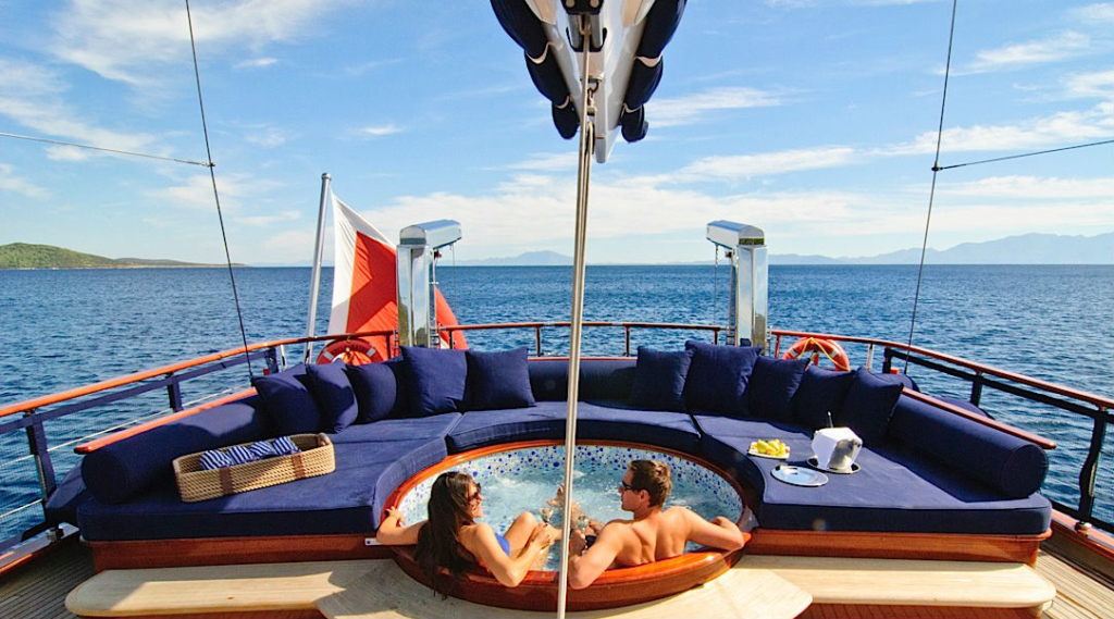 Private Hottub and Seating area on Yacht Greece